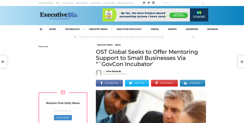 OST Global Seeks to Offer Mentoring Support to Small Businesses Via GovCon Incubator