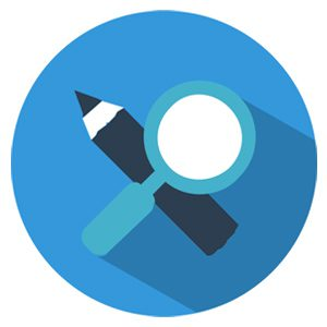 Pencil and magnifying glass icon representing the value of obsessing about details